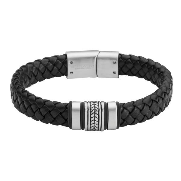 Herrenarmband in Leder mit Edelstahl schwarz Madrid gravierbar STEELWEAR