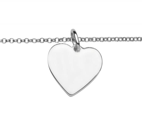 Armkette Silber mit Gravurschild Herz Form by Nana Kay
