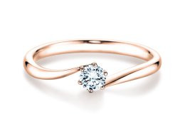 Verlobungsring 585 Rosegold 0,10 ct. Brillant Solitär Twisted