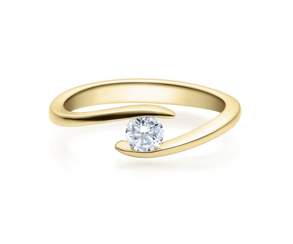 Verlobungsring Twisted 585 Gold - Gelbgold 0,20 Karat Brillant