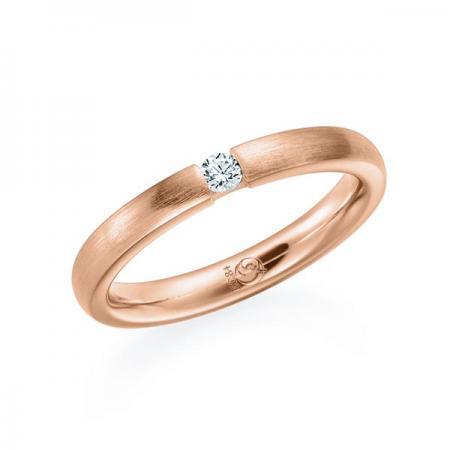 Verlobungsring Memoirring Spannring 585 Rosegold Rotgold mit 1 Brillant gefasst 0,08 ct. tw/si