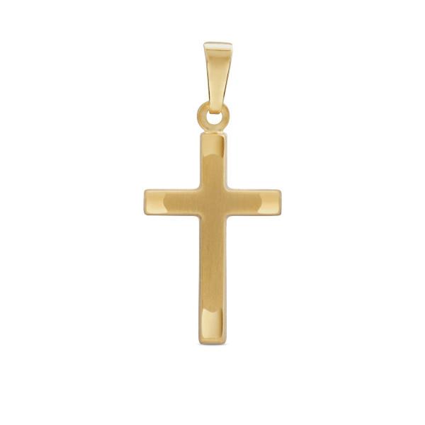 Anhänger 333 Gold Kreuz mit polierten Spitzen 25,5 mm