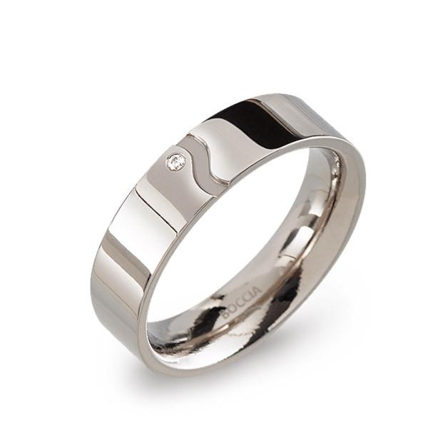 Titan Ring matt-poliert gerade Form 5,5 mm mit 1 Brillant von BOCCIA Titanium