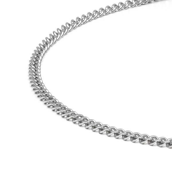 Halskette Collier Panzerkette diamantiert 4,0 mm in Edelstahl MONOMANIA