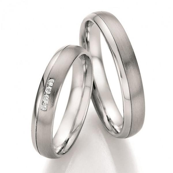 Edelstahl Ring poliert-matt mit 4 Brillanten Seitenfuge abgerundete Form Verlobungsringe Trauringe