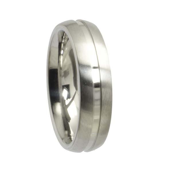 Edelstahlring runde Form mit Fuge Streifen matt und poliert 6 mm