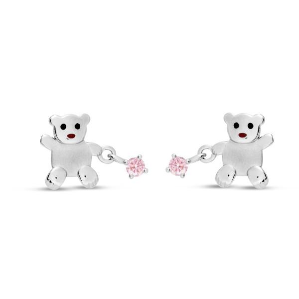 Kinder Ohrstecker 925 Silber Teddybär mit rosanem Zirkonia