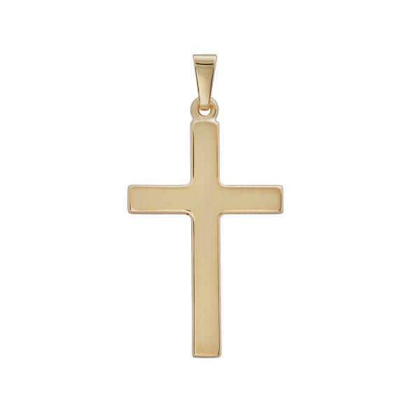 Anhänger Kreuz 333 Gold poliert 32 mm gerade Form