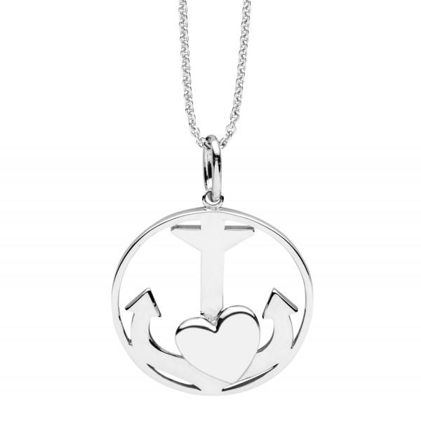 Halskette mit Anhänger Kreis, Anker mit Herz - Nana Kay