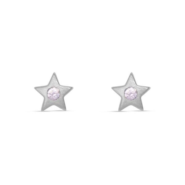 Kinder Ohrstecker 925 Silber Sterne mit rosanem Zirkonia-kristall