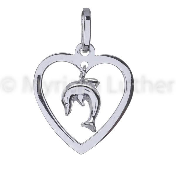 Kinder Anhaenger Herz mit Delfin 925 Silber rhodiniert