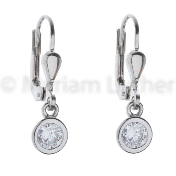 Kinder Ohrhänger Kreis Zirkonia kristall 925 Silber rhodiniert