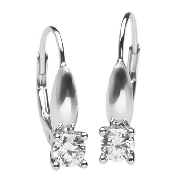 Ohrringe mit Bügel Brisur und Zirkonia-Stein - Silver Trends