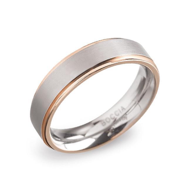Titan Ring matt - poliert gerade Form 5 mm zum teil rosegoldplattiert von BOCCIA Titanium