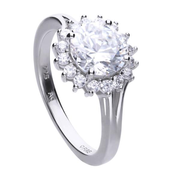 Prinzessinen Ring Sterling Silber mit Zirkonia Diamonfire CLASSIC Verlobungsring