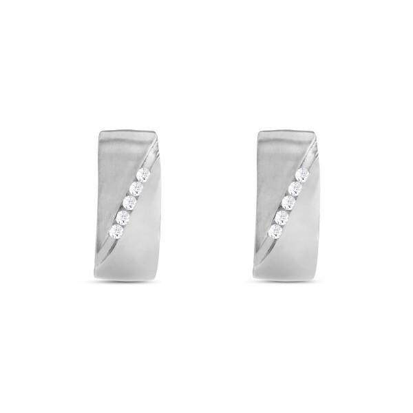 Creolen 925 Silber mit Zirkonia-Steinen diagonal verlaufend