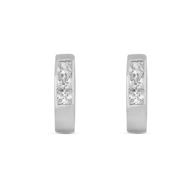 Creolen 925 Silber mit drei quadratischen Zirkonia-Steinen