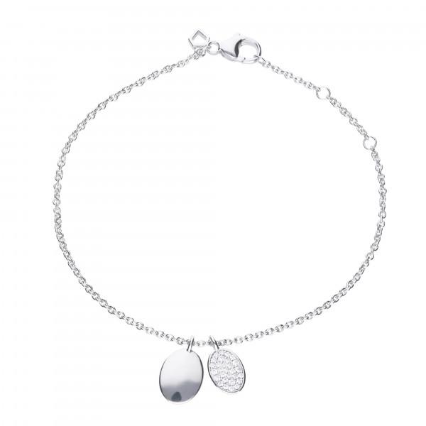 Armband Silber mit Gravurplättchen und Zirkonia Steinchen längenverstellbar von Diamonfire