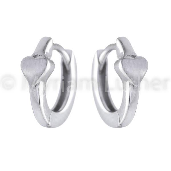 Herzmotiv Ohrringe für Kinder 925 Silber rhodiniert