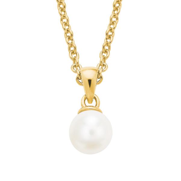 Damen Halskette mit Anhänger Perle silber gelbvergoldet s.Oliver