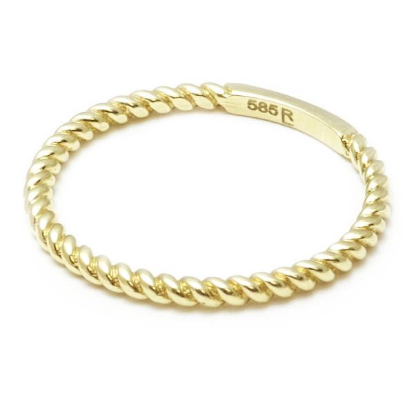 Damenring 585 Gold gekordelt - goldfarben