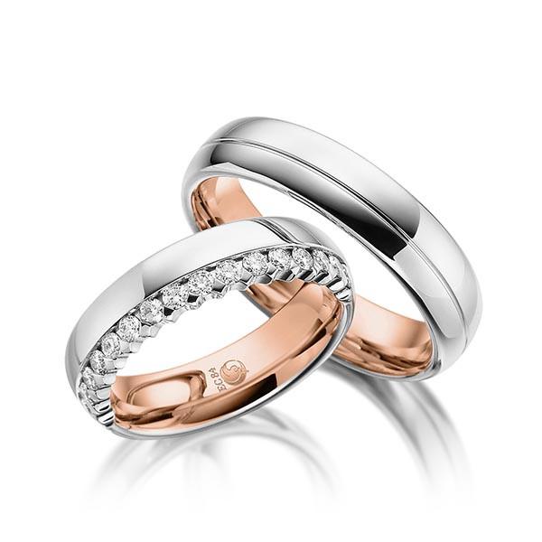 Trauringe 750 Rotgold 950 Palladium Eheringe Hochzeitsringe RU-1052-1-750RG950PD