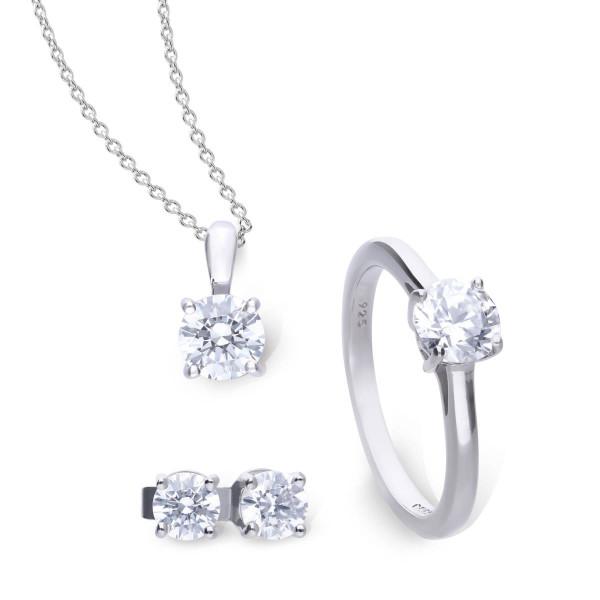 Set Ring Halskette und Ohrstecker Silber Diamonfire CARATS