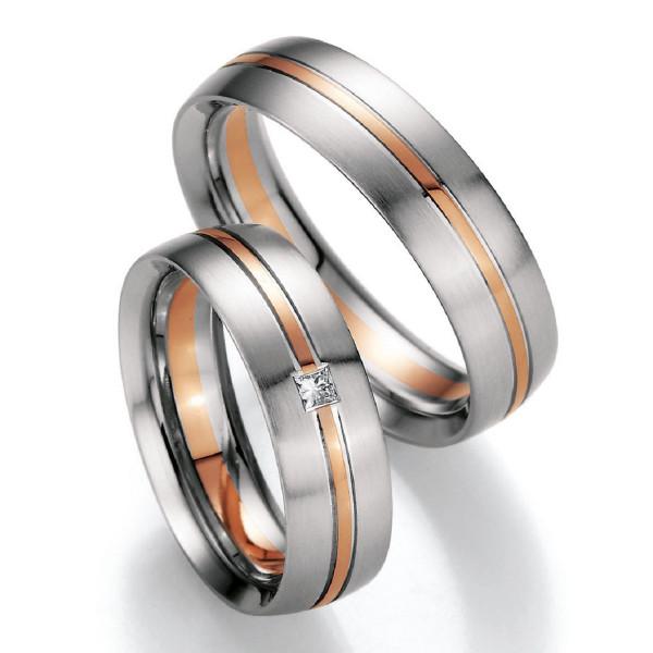 Trauringe 585 Weissgold/Rotgold Eheringe Hochzeitsringe