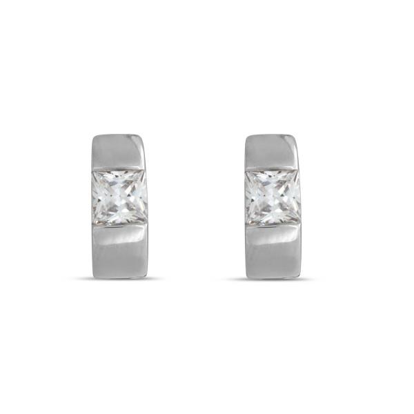 Creolen 925 Silber 5,1 mm stark und mit Zirkonia im Princess Cut