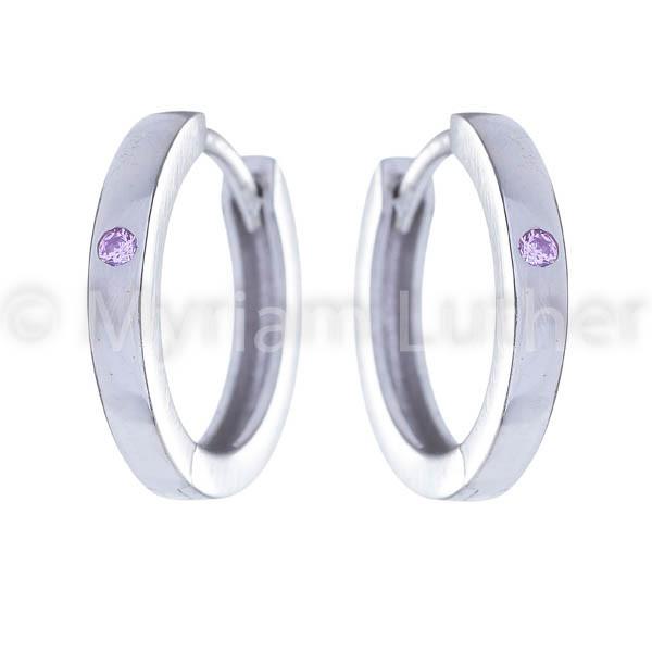 Kinder Ohrringe mit Zirkonia rosa kristall 925 Silber rhodiniert