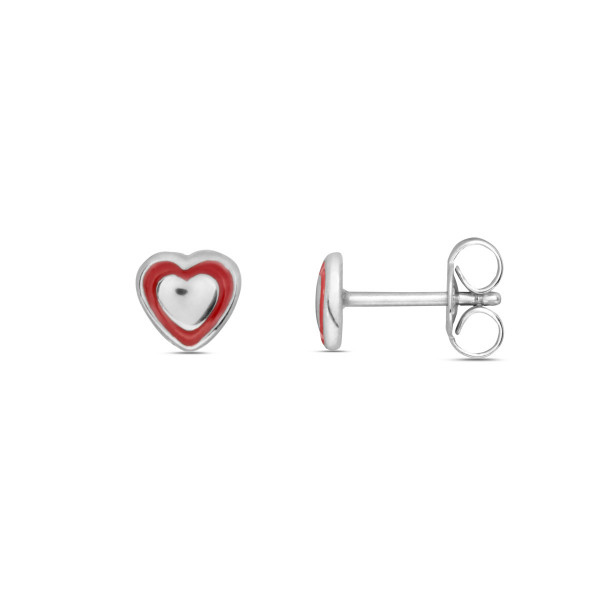 Kinder Ohrstecker 925 Silber mit Herzchen teils rot