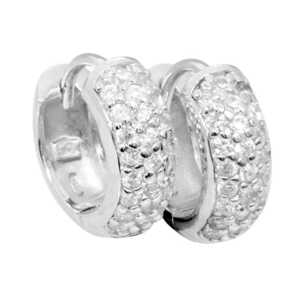 Creolen mit hellen Zirkonia Steinen - Silver Trends