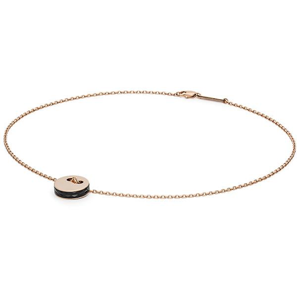 Halskette mit Kreis Anhänger rosegold / schwarz MONOMANIA