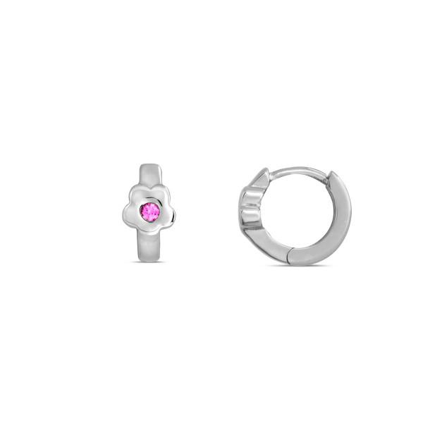Kinder Creolen 925 Silber Blume mit Zirkonia-Stein in pink