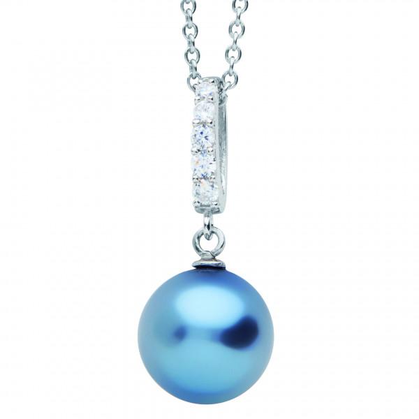 Halskette mit Zirkonia Schlaufe und blauer Perle - Nana Kay