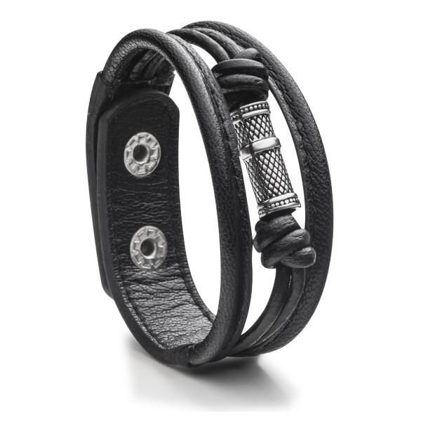 Herrenarmband in Leder mit Edelstahl schwarz STEELWEAR