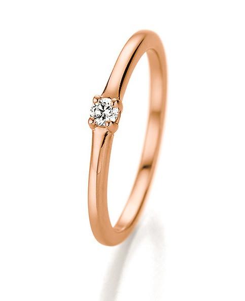 Verlobungsring 585 Rosegold 0,06 ct. Brillant