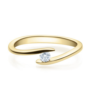 Verlobungsring Twisted 585 Gold - Gelbgold 0,10 Karat Diamant Brillant