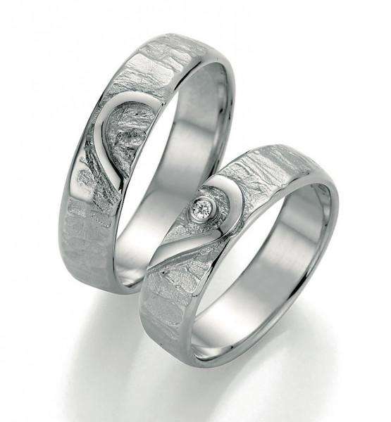 Freundschaftsringe Ewiges Herz in 925 Silber Damenring mit einem Brillant