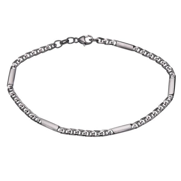Herren Armschmuck 925 Silber mit fünf gefüllten ovalen Gliedern