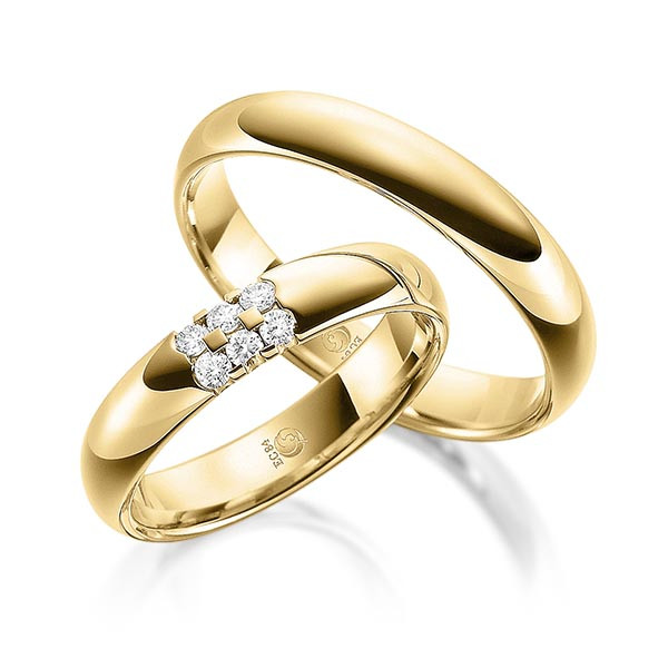 Trauringe 585 Gelbgold Eheringe Hochzeitsringe RU-1081-3-585GG