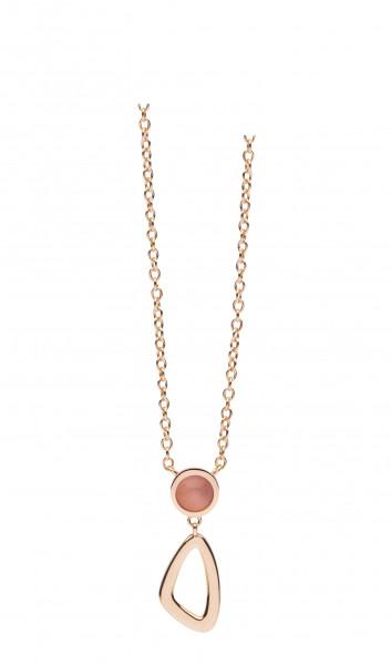 Damen Halskette Silber in rotgoldfarben mit Anhänger und rose Farbstein