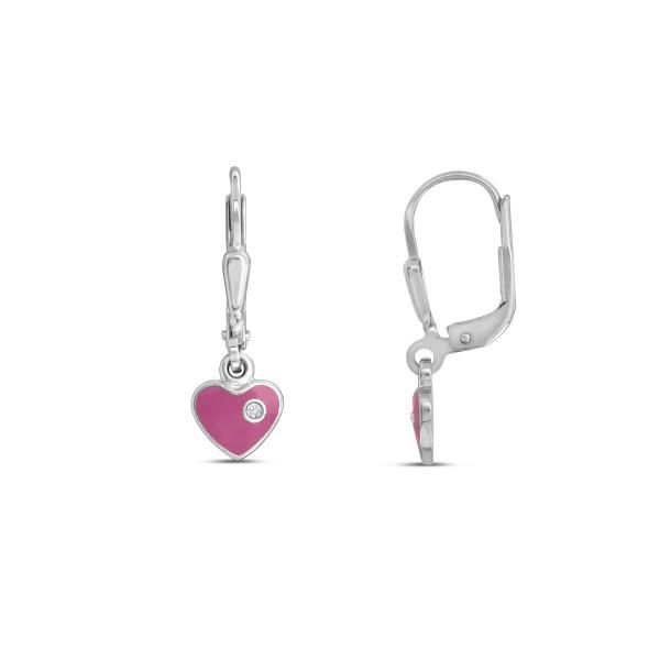 Kinder Ohrhänger 925 Silber rosanes bewegliches Herz