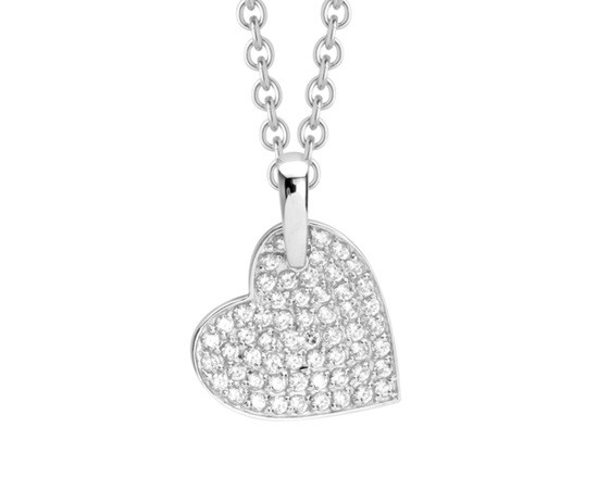Halskette mit besetztem Zirkonia Herz Anhänger - Nana Kay