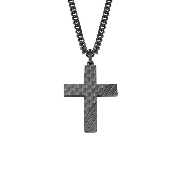 Herrenhalskette Kreuz mit Halskette Edelstahl schwarz mit Carbon s.Oliver