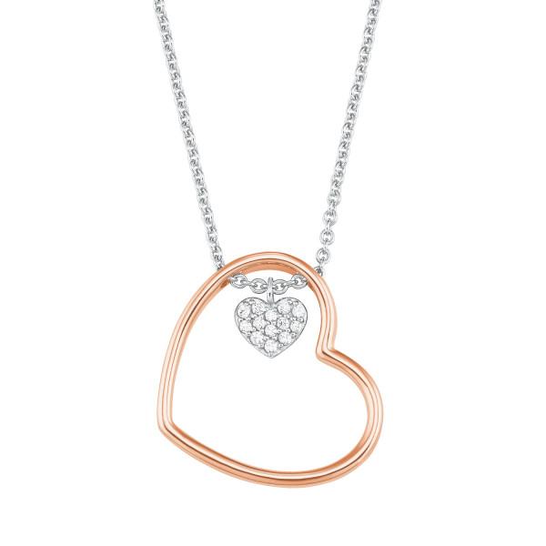 Halskette Herz rosevergoldet teils mit Zirkonia von s.Oliver