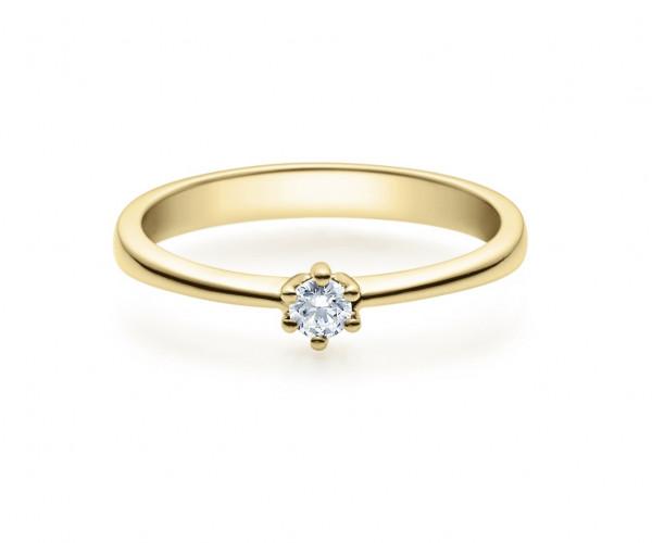 Verlobungsring 585 Gold - 0,1 Karat Brillant in 6-Krappenfassung