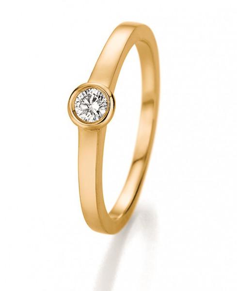 Verlobungsring Zargenfassung in 585 Gelbgold mit Brillant 0,20 Karat