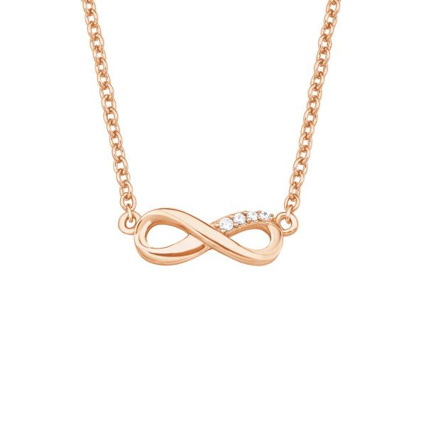 Damen Halskette mit Unendlichkeitszeichen silber mit Zirkonia rosegold vergoldet s.Oliver