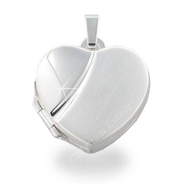 Medaillon 925 Silber Herz 16,5 x 17,5 mm matt - poliert